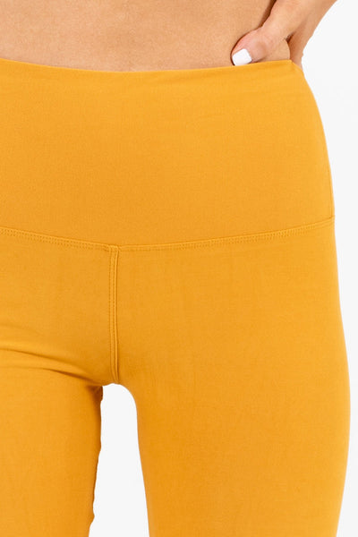 Mustard Yellow Best Winter Leggings Buttery Soft Yoga Waistband