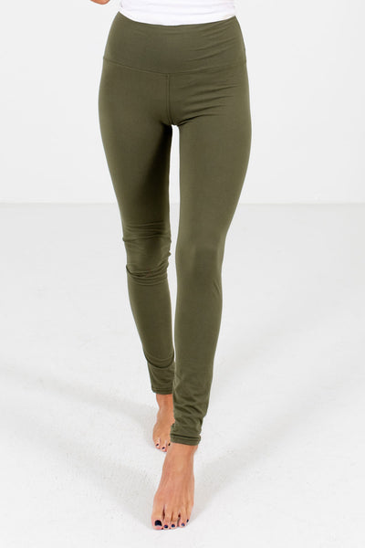 Olive Green Cute and Comfortable Boutique Leggings for Women