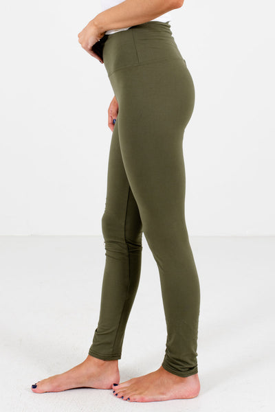 Olive Green Skinny Fit Boutique Leggings for Women