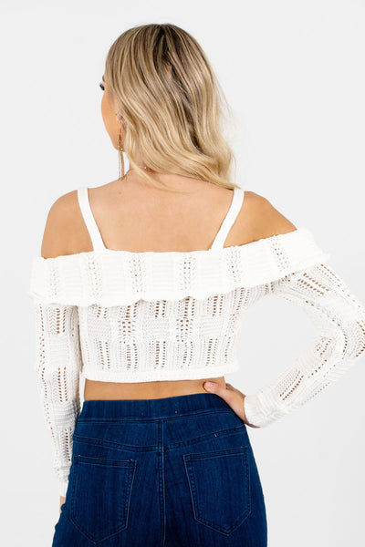 Women's Cream Semi-Sheer Knit Material Boutique Tops