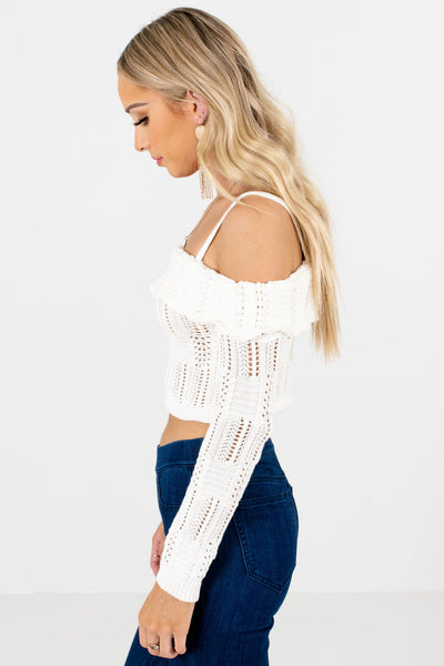 Cream Cropped Length Boutique Tops for Women
