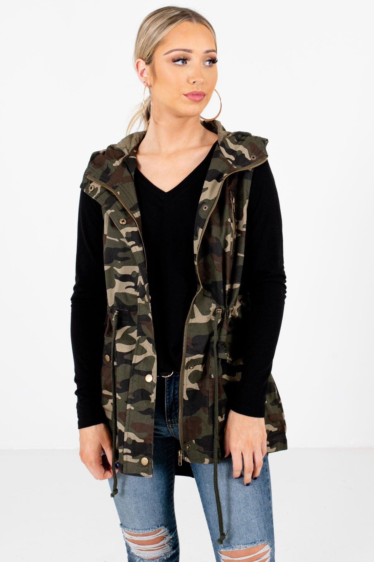 Green and Brown Camouflage Print Boutique Vests for Women