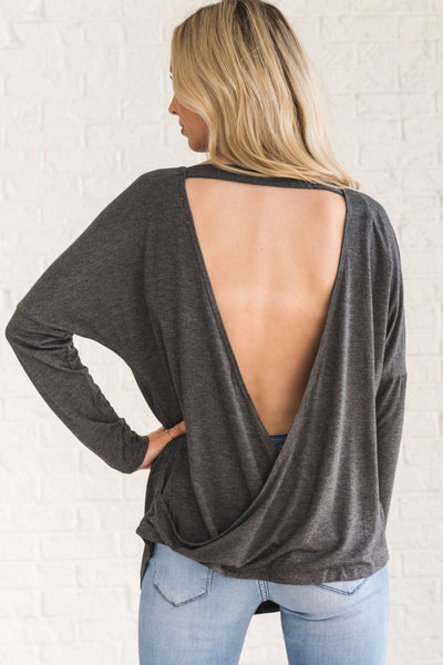 Gray Long Sleeve Women's Boutique Top