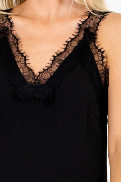 Black Eyelash Lace Accent Fit-and-Flare Mini Dresses for Women