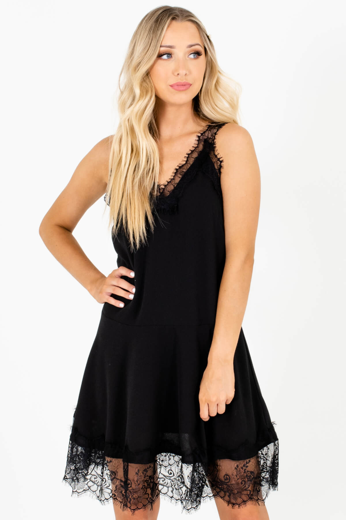Black Eyelash Lace Fit-and-Flare Mini Dresses Affordable Online Boutique