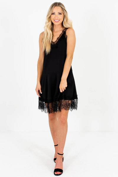 Black Eyelash Lace Fit and Flare Mini Dresses Affordable Boutique