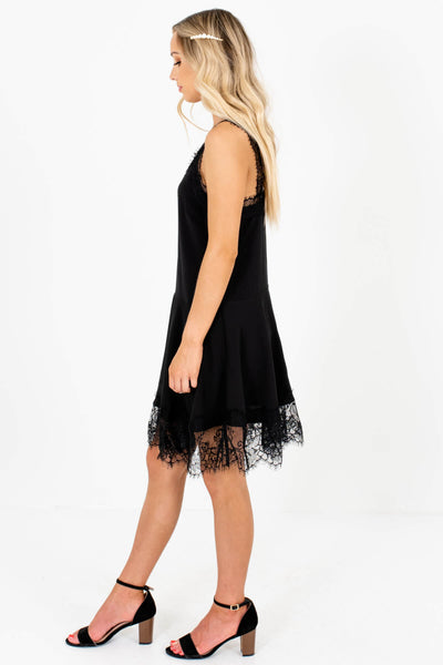 Black Eyelash Lace Fit-and-Flare Mini Dresses with Zipper Back