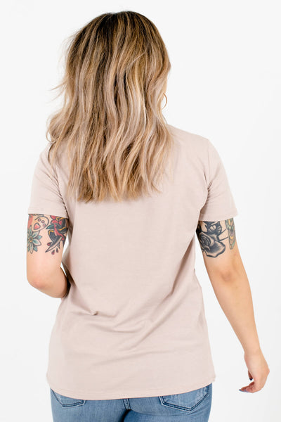 "Women's Taupe Brown ""Take Me to The Desert"" Lettering Boutique Tee"