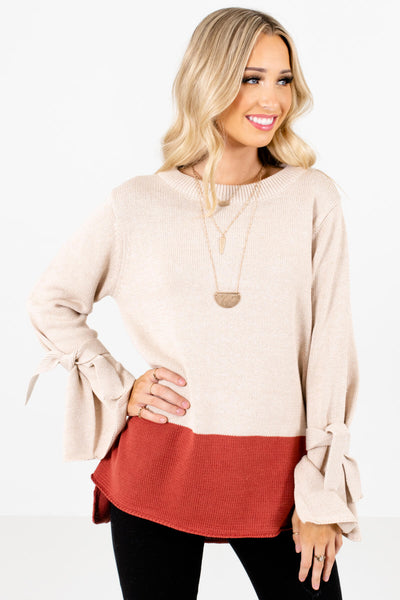 Beige and Dark Pink Color Block Patterned Boutique Sweaters for Women