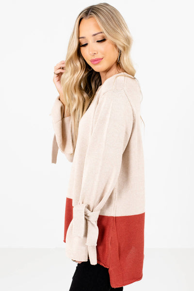Beige High-Low Hem Boutique Sweaters for Women