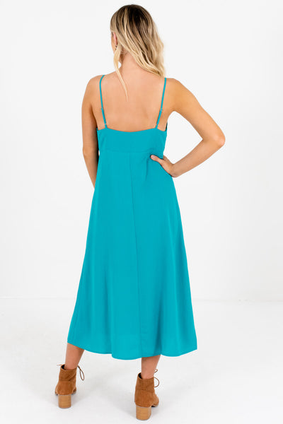 Turquoise Teal Button-Up Tie-Front Midi Dresses for Women