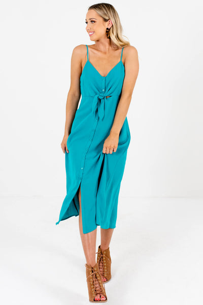Teal Turquoise Button-Up Tie-Front Midi Dresses for Women