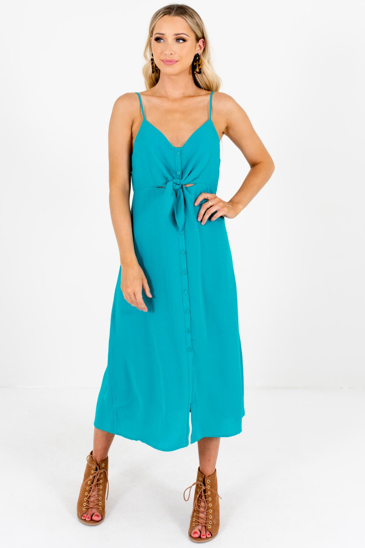 Turquoise Teal Green Button-Up Tie-Front Midi Dresses for Women