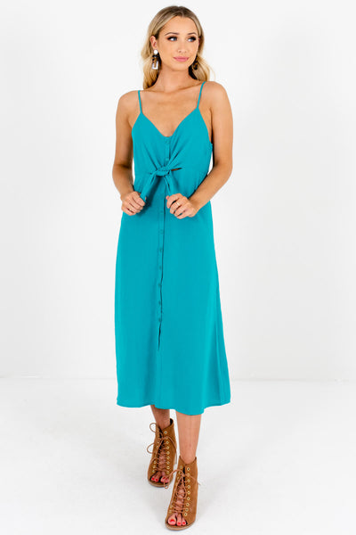Turquoise Green Teal Button-Up Midi Dresses for Women