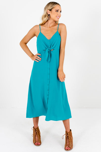 Turquoise Blue Teal Green Button-Up Midi Dresses for Women