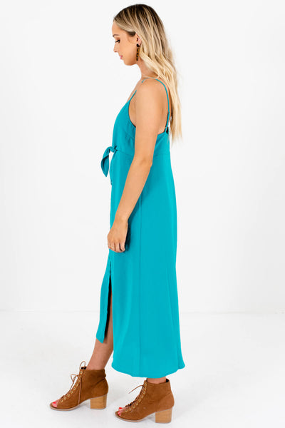 Turquoise Teal Tie-Front Button-Up Midi Dresses for Women
