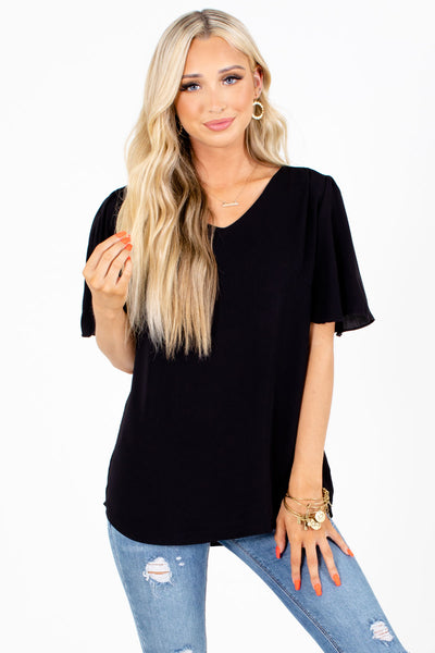 Black High-Low Hem Boutique Blouses for Women
