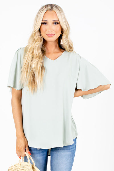 Sage Green Casual Everyday Boutique Blouses for Women