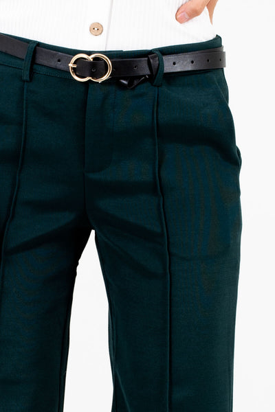 Dark Teal Green Seam Detail Slacks Affordable Online Boutique