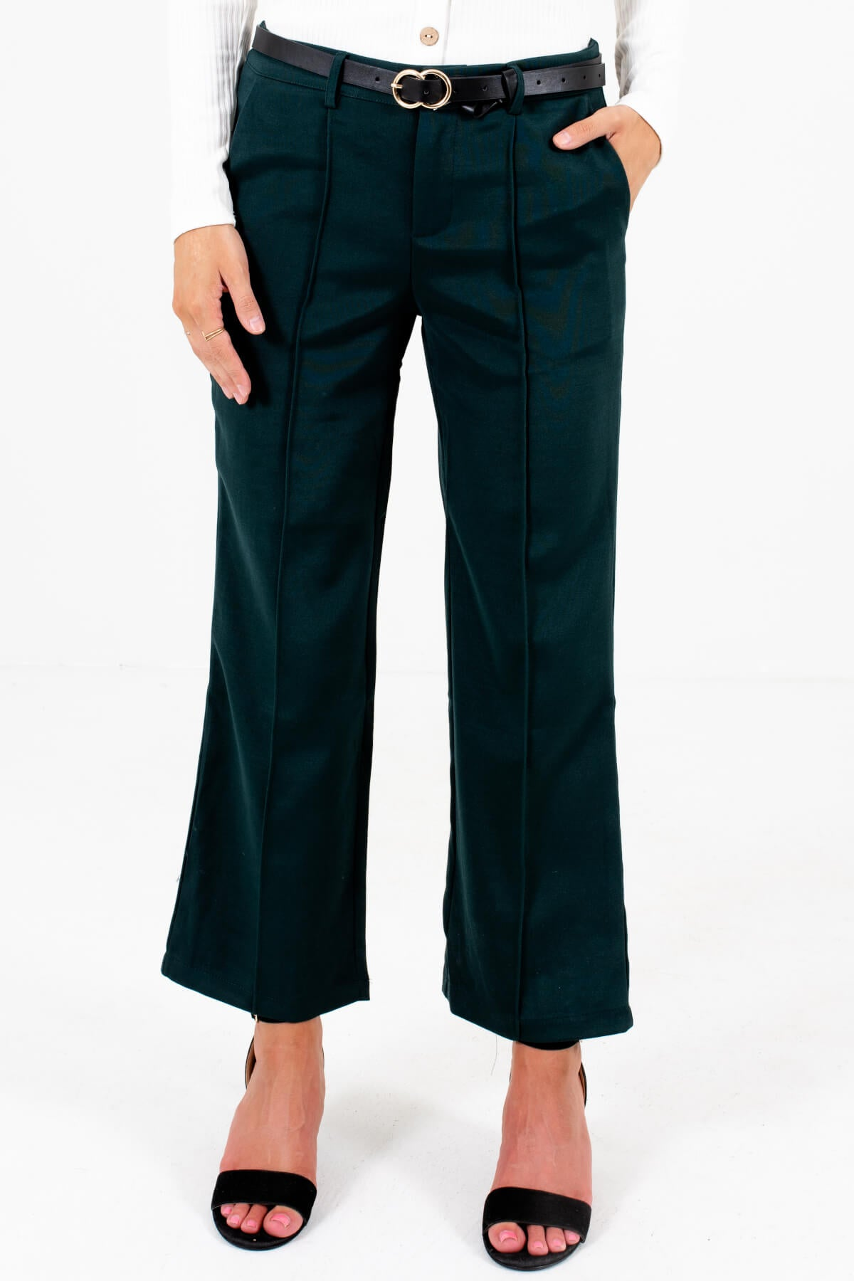 Dark Teal Green Seam Detail Boutique Slacks for Women