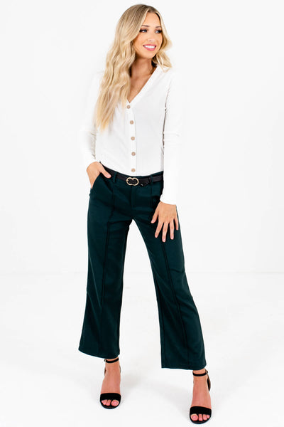 Dark Teal Green Boutique Business Casual Pants Slacks