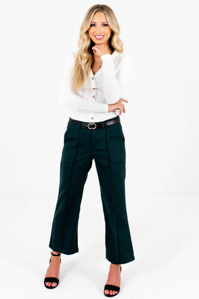 Dark Teal Green Cute Boutique Slacks for Women