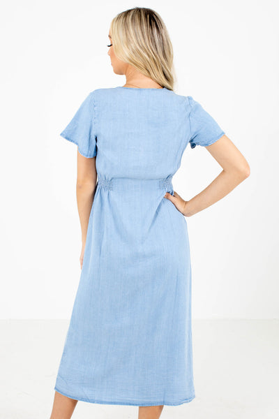 Women's Blue Chambray Boutique Midi Dress