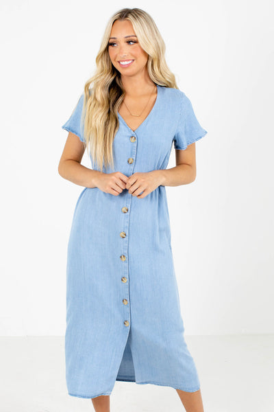 Blue Button-Up Front Boutique Midi Dresses for Women