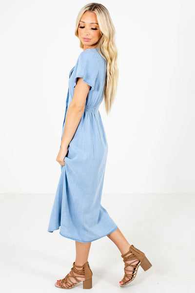 Blue Smocked Side Boutique Midi Dresses for Women