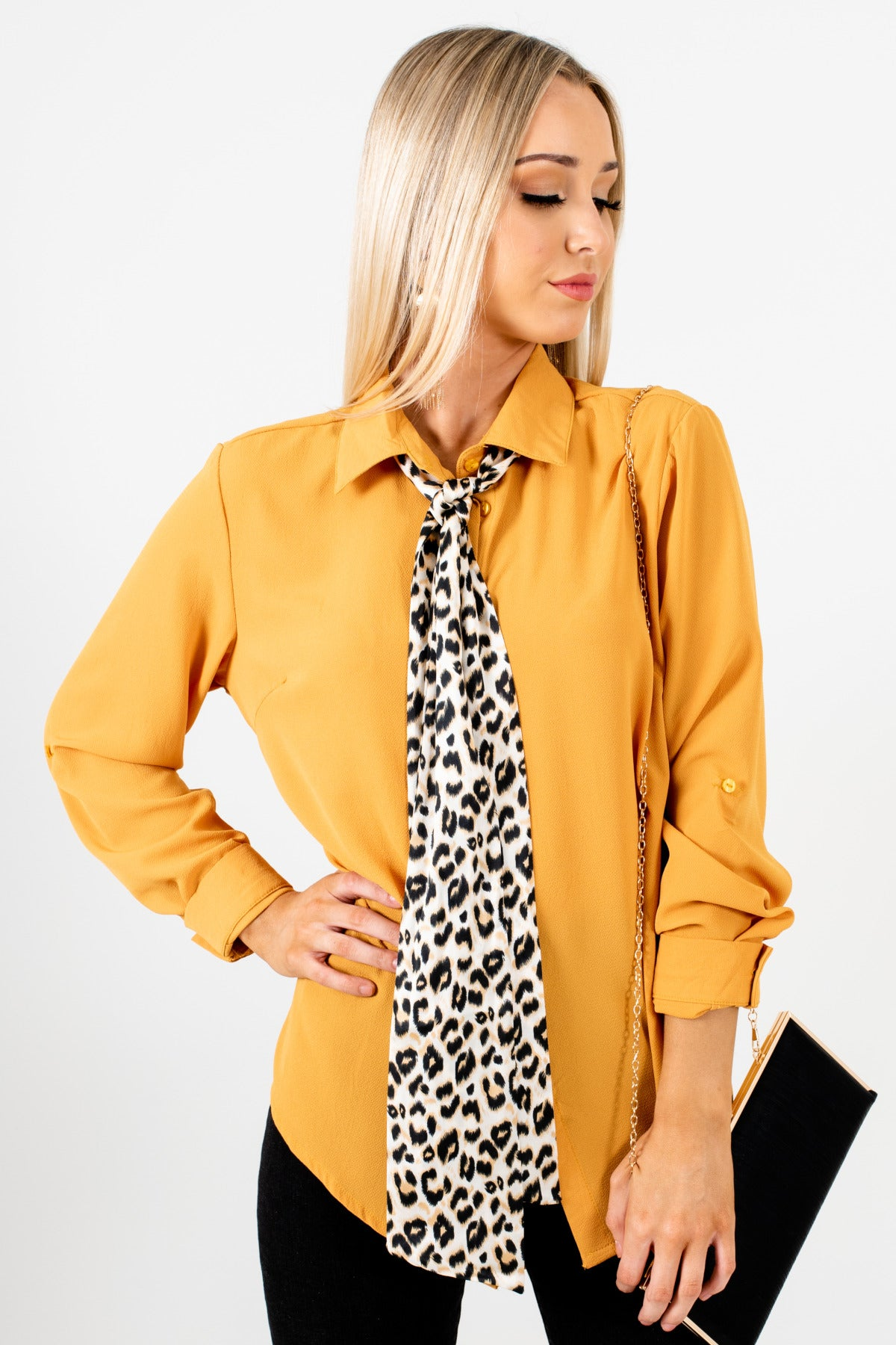 Mustard Yellow Button Up Shirt with Satin Leopard Print Tie