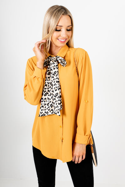 Mustard Yellow Satin Leopard Print Tie Button Up Shirts
