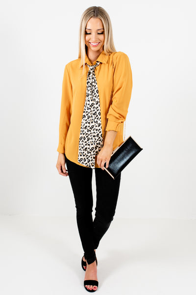 Mustard Yellow Boutique Button Up Leopard Print Tie Shirts