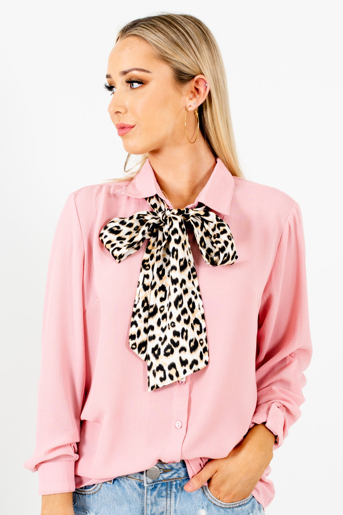 Pink Button Up Shirt with White Gold Black Leopard Print Tie
