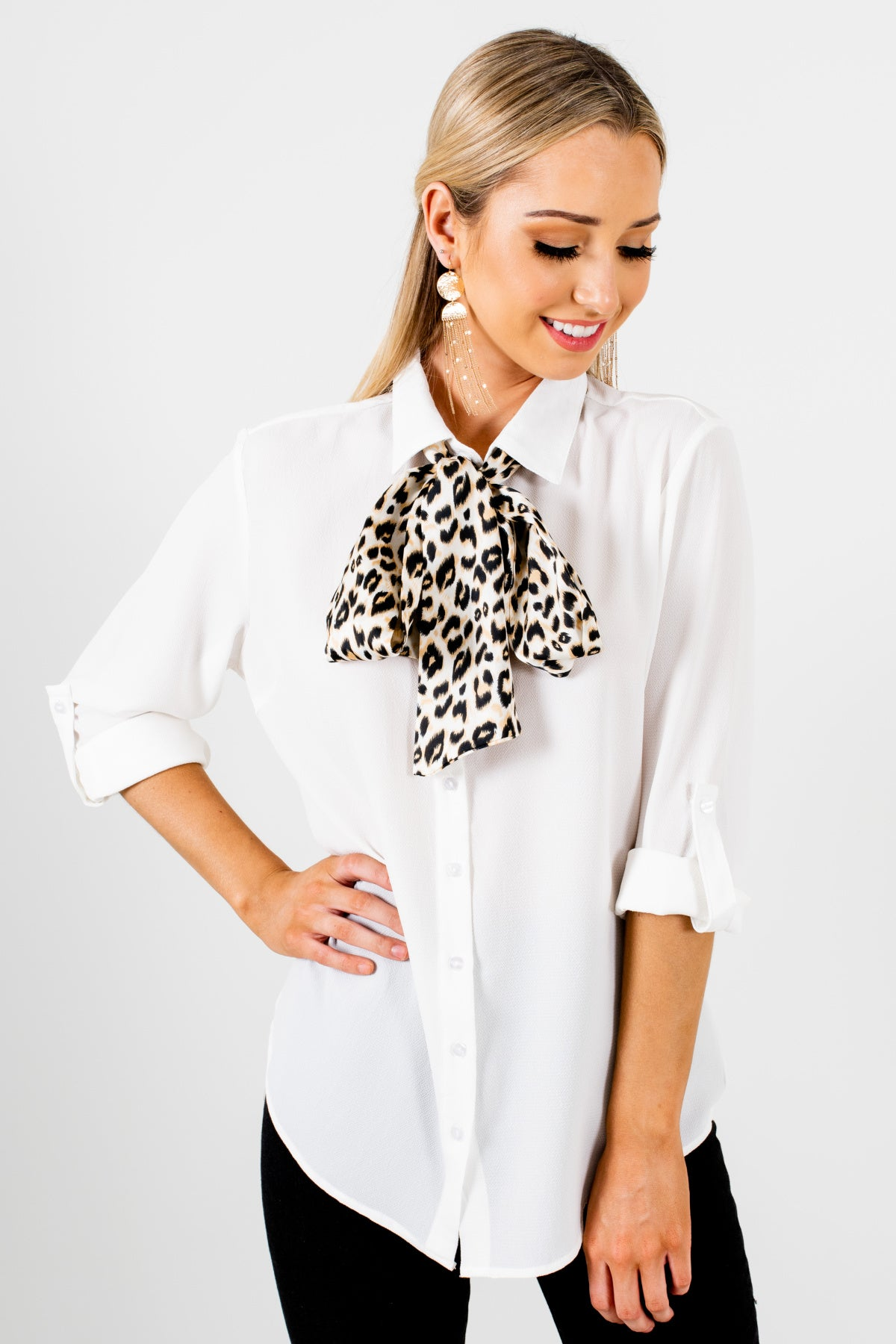 White Button Up Shirt Collar Leopard Print Satin Tie Business Casual