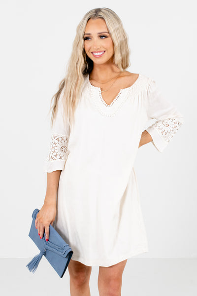 Cream Split V-Neckline Boutique Mini Dresses for Women