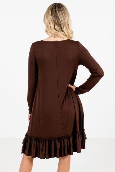Women's Brown Long Sleeve Boutique Knee-Length Dress