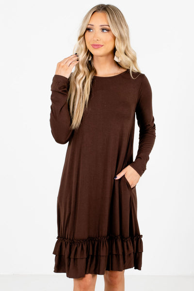 Women's Brown Boutique Knee-Length Dresses with Pockets
