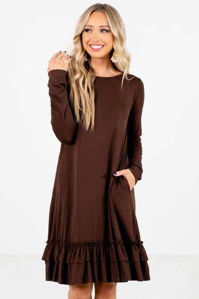 Brown Ruffled Hem Boutique Knee-Length Dresses for Women