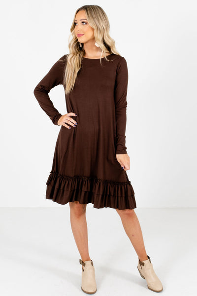 Women's Brown High-Quality Boutique Knee-Length Dresses