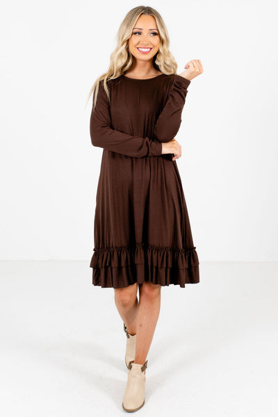 Brown Cute and Comfortable Boutique Knee-Length Dresses for Women