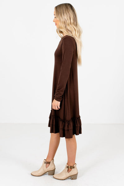 Brown Round Neckline Boutique Knee-Length Dresses for Women