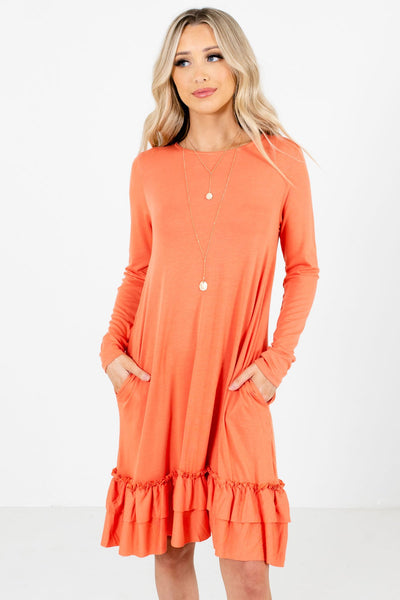 Women's Orange Boutique Knee-Length Dresses with Pockets