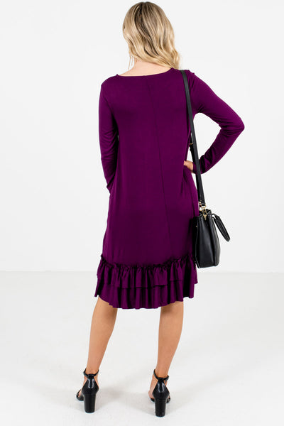 Women's Purple Long Sleeve Boutique Knee-Length Dress
