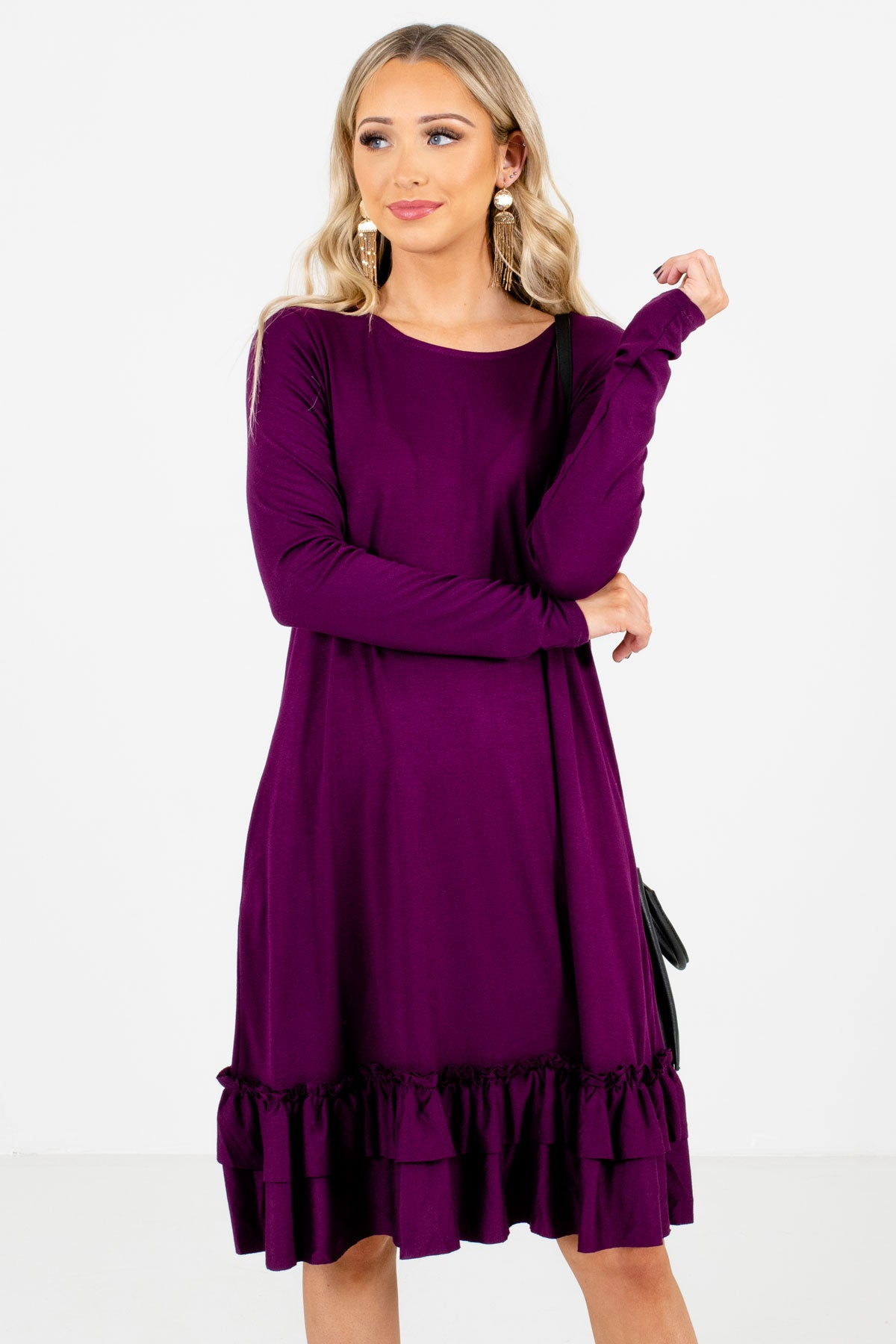 Purple Ruffled Hem Boutique Knee-Length Dresses for Women