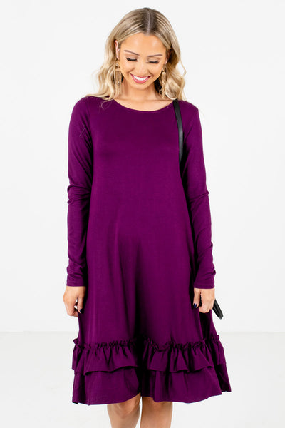 Women's Purple Boutique Knee-Length Dresses with Pockets