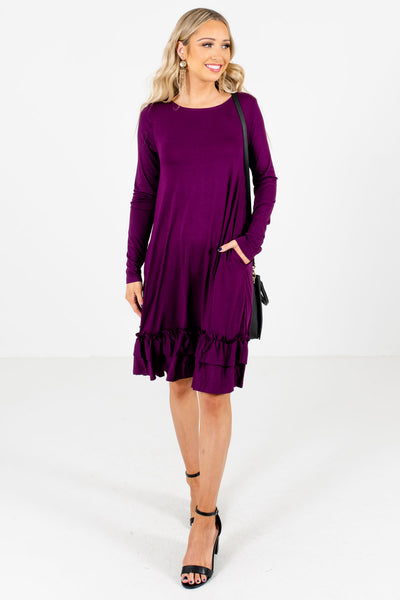 Purple Cute and Comfortable Boutique Knee-Length Dresses for Women