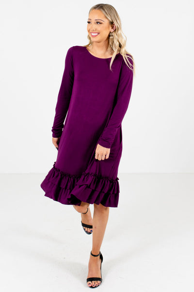 Women's Purple High-Quality Boutique Knee-Length Dresses