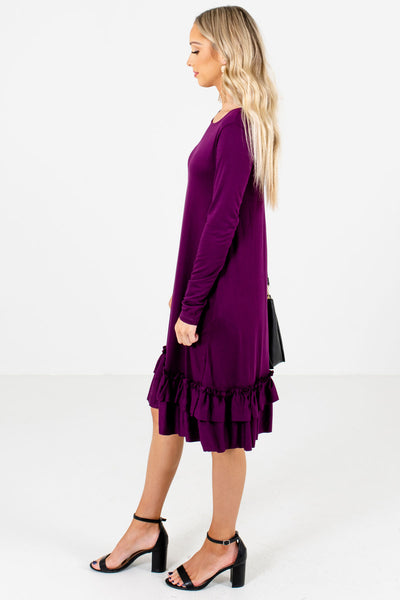 Purple Round Neckline Boutique Knee-Length Dresses for Women