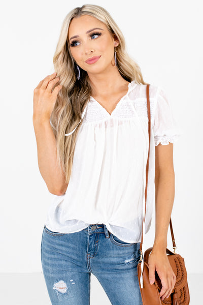 White Smocked Accented Boutique Blouses for Women
