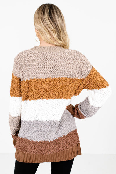 Women's Brown High-Quality, Popcorn Knit Material Boutique Sweater